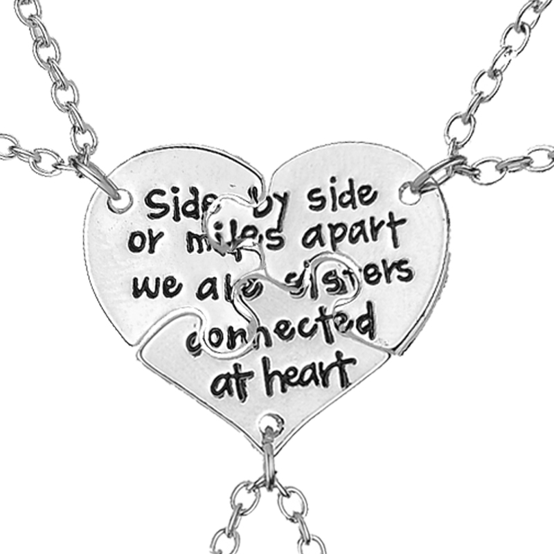 side by side or miles apart we are sister connected at heart BFF Necklaces For 3 Best friend Necklace gift for sister bestfriend