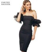 Новое поступление Платье черного цвета и сетчатыми оборками дизайн с короткими рукавами соблазнительный с открытыми плечами по колено бандаж знаменитости для вечеринок платье
