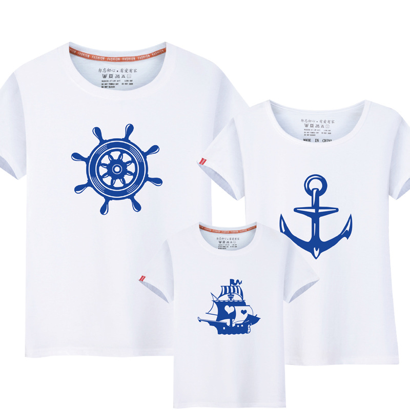 1Piece Summer Family Matching Clothes New Family Look Anchor T Shirts Father Mother Kids Cartoon Outfits Family Matching Clothes