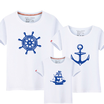 1Piece Summer Family Matching Clothes New Family Look Anchor T Shirts Father Mother Kids Cartoon Outfits Family Matching Clothes summer family look clothes boy t shirts mother