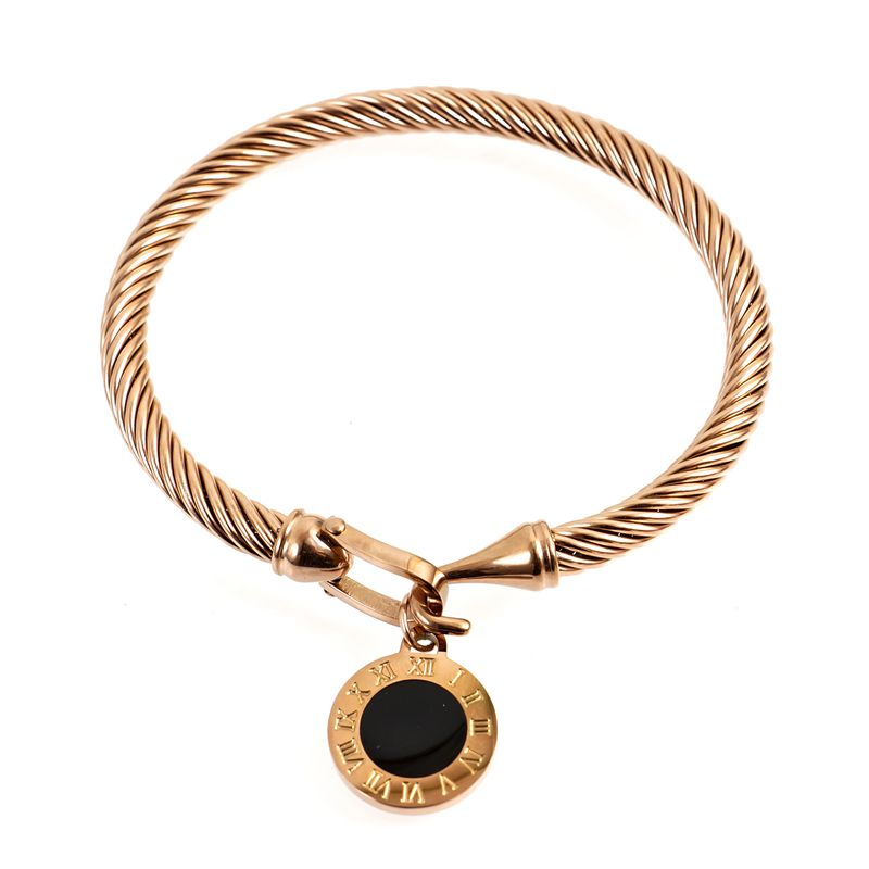 MSX Fashion Gold Plating Stainless Steel Bangles Bracelets Vintage Love Roman Numerals Wristband Bracelets Bangles For Men Women