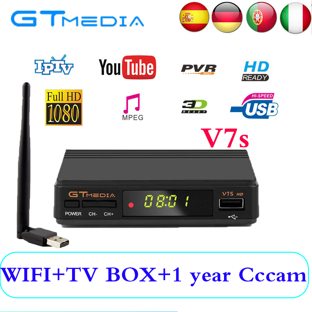 GTMedia V7S DVB-S2 Satellite Receiver+USB WIFI 1080P HD Receptor Support  Youtube PowerVu Biss PVR with cccam line for 1 year