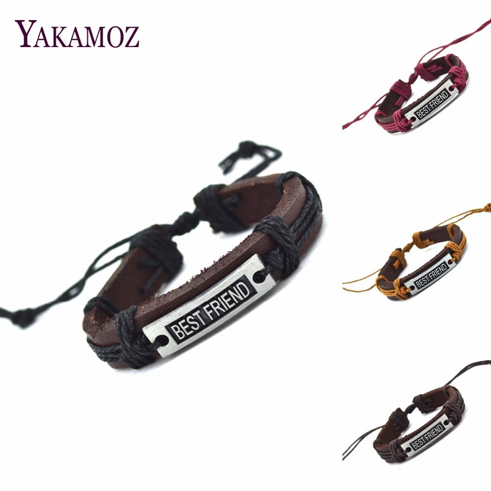 2017 Best friend Genuine Leather Letter Charm Bracelet Cuff Braided Wrap Bracelet & Bangles Fashion For Women Men Gifts image