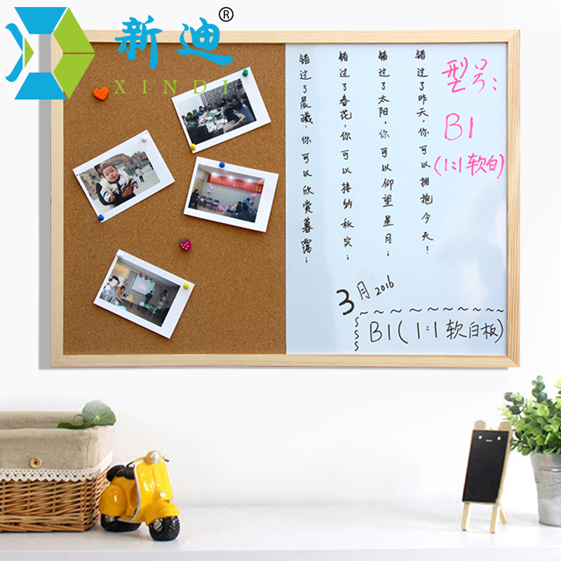 XINDI Message Cork Board Wood Frame Whiteboard Drawing Boards Combination 30*40cm Bulletin Magnetic Marker Board Free Shipping 5