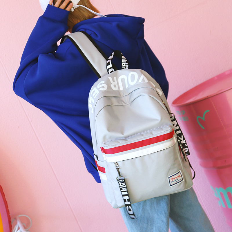 Image 5 - Strips Backpack Preppy Style Black Letter School Backpack For Teenage Girls Japanese and south Korean style Leisure Travel Bag-in Backpacks from Luggage & Bags