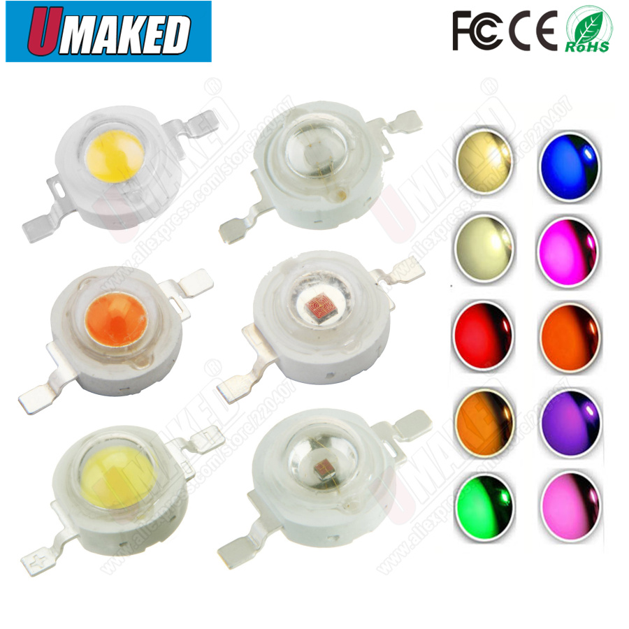 1W 3W High Power Led Bead White/Warm White/Red/Green/Blue/yellow/orange Light Source High Quality 2 Years Warranty Free Shipping