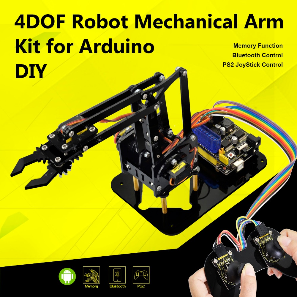 Keyestudio 4DOF Acrylic Toys Robot Mechanical Arm Claw Kit for Arduino DIY Robot|Demo Board Accessories|Computer & Office - title=