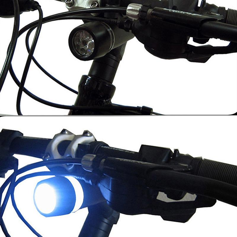 AKDSteel Black Bicycle Headlight Taillight Suit Plastic LED Lamp Mountain Bike Accessories Strong Light Flashlight