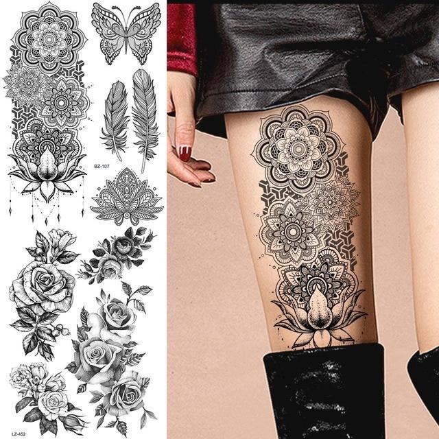 Grande Negro Henna Brazo Tatuajes Piernas Pulsera India Mandala Flor
