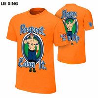 2018 New T Shirt Men Wrestling John Seth Sr Rollins Cena Respect Earn It Orange Blue