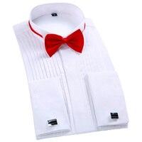 New Arrival Men S French Tuxedo Shirt Men Long Sleeve Dress Shirt Mens Solid Color Turn