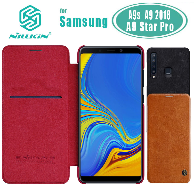 A9s Case for Samsung Galaxy A9s Case NILLKIN Qin Business Flip Leather Case for Samsung A9 2018 Card Slot Back Cover Phone Case