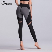 CWLSP Sexy Mesh Patchwork Women Leggings Skinny Push Up Hips Heart Workout High Waist Pants legins calzas deportivas fitness
