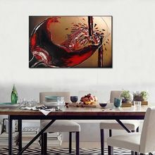 цена на Euro Style Red Wine Hand Painted Oil Painting On Canvas Luxury Modern Abstract Wall Art Pictures Canvas Painting For Living Room