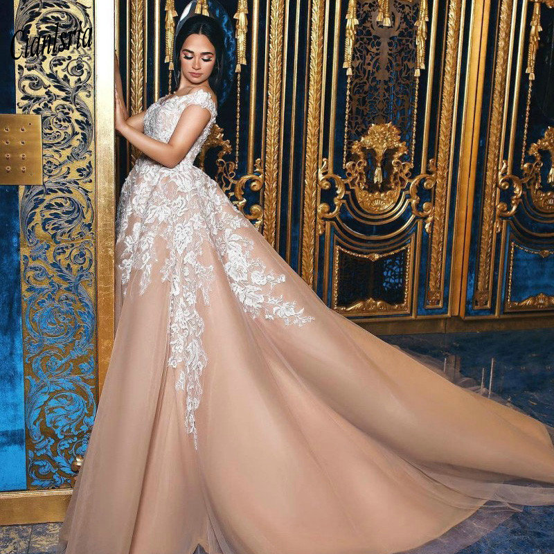 Champagne Off The Shoulder Saudi Arabic Ball Gown   Evening     Dress   Appliques Lace Sleeveless Long Formal   Evening   Party   Dresses