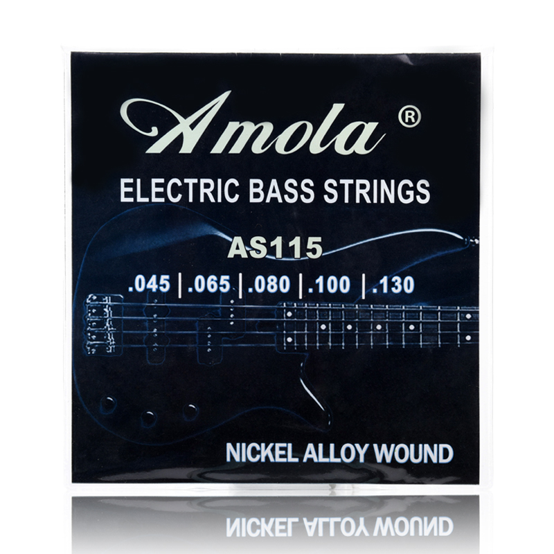 Amola AS115 Electric Bass Strings 5 Steel Stings 045 065 080 100 130 rotosound rs66lc bass strings stainless steel