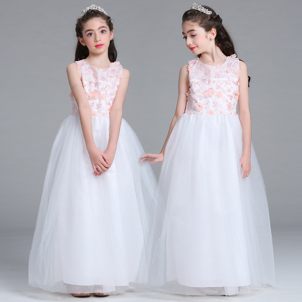 Kids Girls Wedding Flower Girl Dress Princess Party Pageant Formal Dress Sleeveless Long Dress for Teenager Girl 5-16 Years Wear 2017 kids girls wedding flower girl dress princess party pageant formal dress crossed back sleeveless lace tulle dress 2 14y
