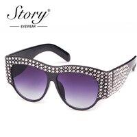 История 2018 бренд luxuxry Солнцезащитные очки для женщин женские со стразами большой Рамки UV400 Винтаж негабаритных Защита от солнца Очки для Для...