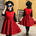 Fashion Warm Red Girls Dress Autumn 2016 Plaid O-neck Sleeveless Girls Princess Dress Lolita Style Kawaii Girls Birthday Dress