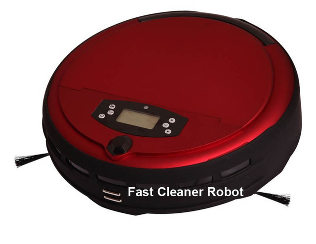 Free Shipping Voice Function Intelligent Vacuum Sweeper With Two Side Brush,0.7L Dustbin,Time Setting,Auto Recharge,LCD