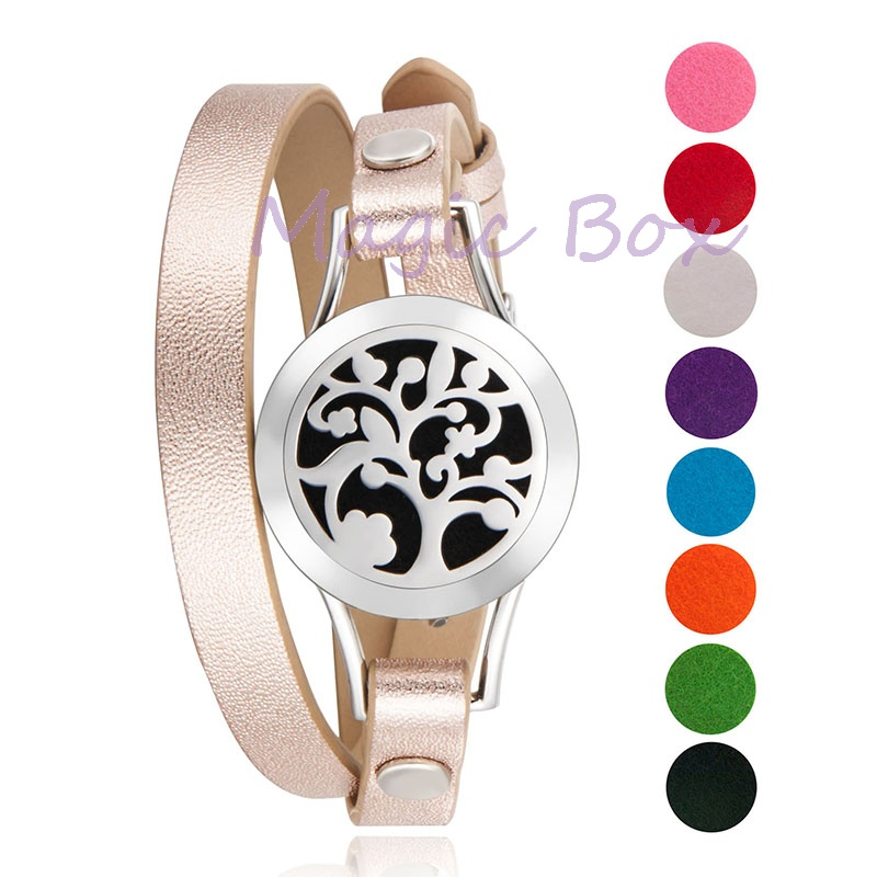 New Arrival Many Types Genuine Leather Stainless Steel 25mm Essential Oil Diffuser Locket Bracelet with 8