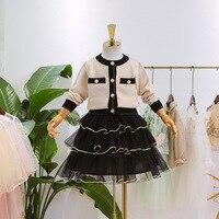 5441 Fancy Princess Spring Kid Baby Girls Clothing Set 2 Pcs: Sweater Outwear Cardigan + Tutu Skirt Wholesale Baby Girls Clothes