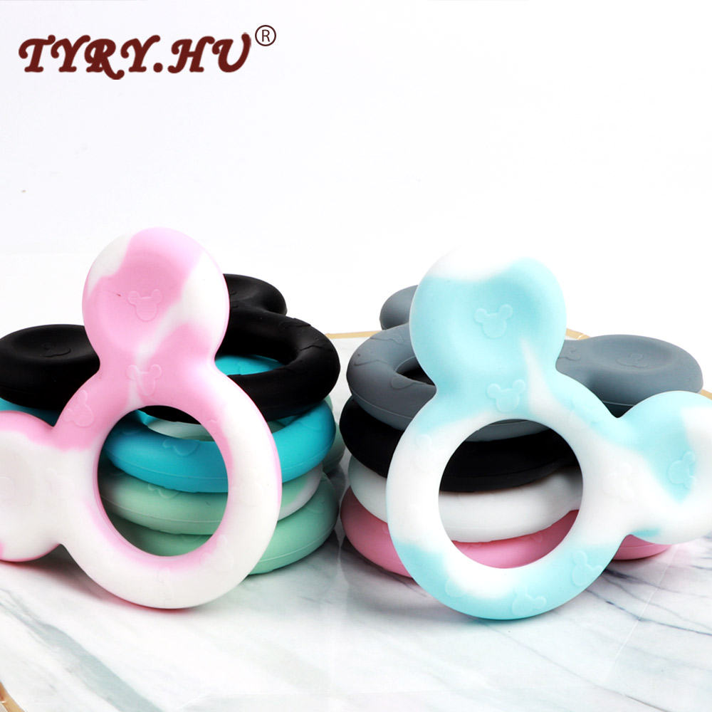 TYRY.HU Mickey Baby Silicone Teethers Food Grade Nursing Accessories Penadant DIY Necklace BPA Free Baby Teething Safe Toys