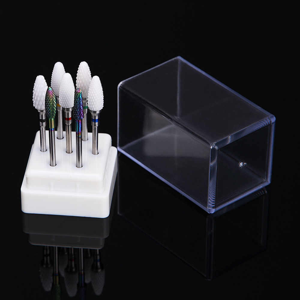 7  Holes Nail Art Drill Grinding Head Bit Holder Display Storage Box Nail Drill Container Stand Display Rack Storage Box 1a09