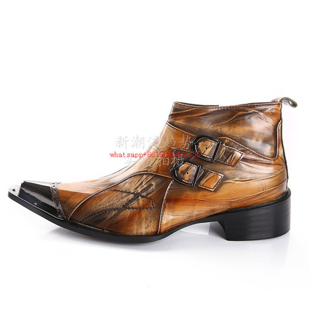 25e8eecbbb2a3 Zobairou Fashion Brand Brown Tan Mens Boots Double-Buckle Soft Genuine  Leather Shoes Mens Dress Boots Mens Ankle Boots