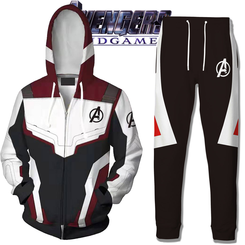 Avengers Endgame Hoodie Cosplay Jacket Sweatshirt Costumes Quantum Realm Pants Marvel Superhero Hoodies Long Pant Suit Costume