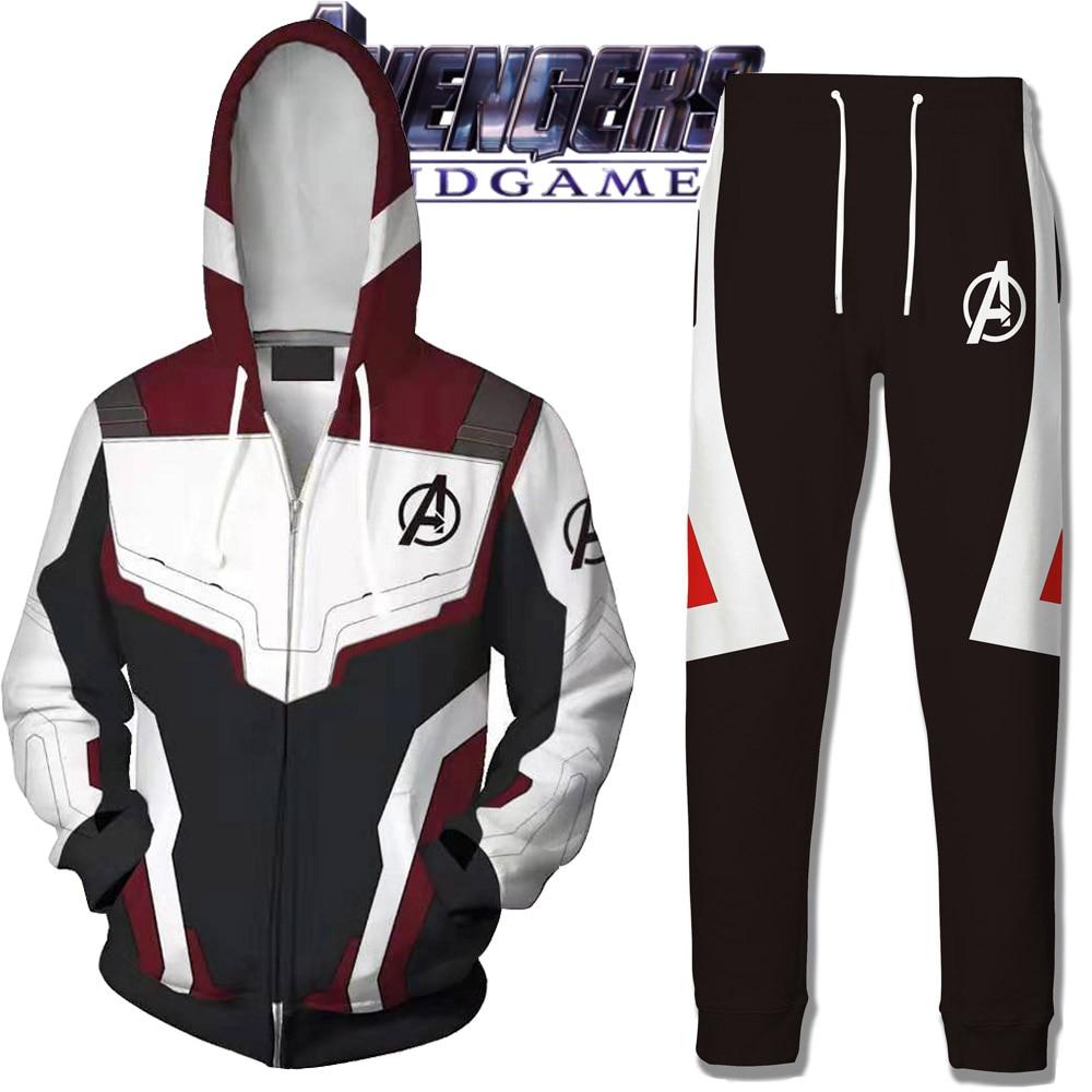 Avengers Endgame Hoodie Cosplay Jacket Sweatshirt Costumes Quantum Realm Pants Marvel Superhero Hoodies Long Pant Suit Costume