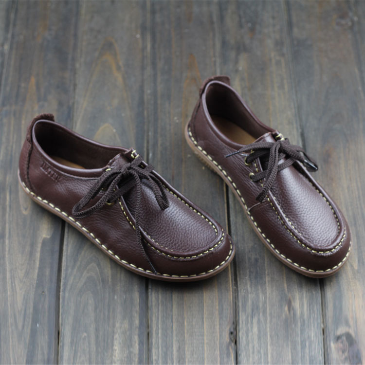 ФОТО Genuine Leather Women Shoes fashion sole Flat Shoes Black/Brown/Coffee Casual Lace up Loafers Ladies Moccasins