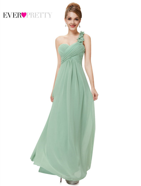 Ever Pretty 2017 Clearance Style Wedding Bridesmaid Dresses Flower One Shoulder Chiffon Padded Dress XXQA86790EHA