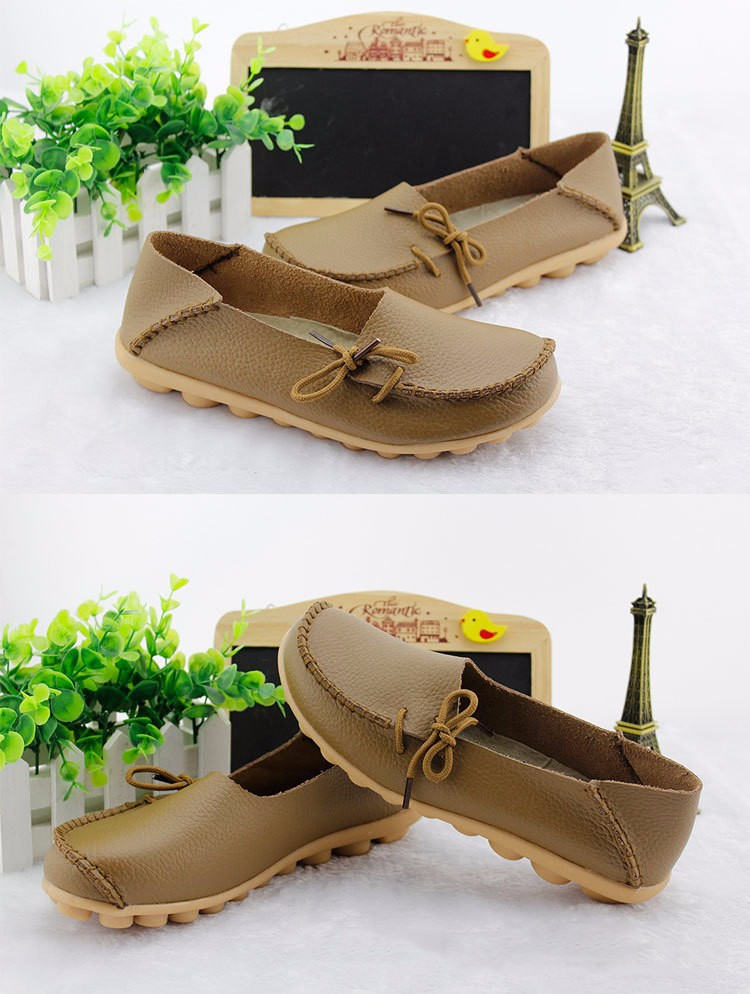 2016 New Real Leather Woman Flats Moccasins Mother Loafers Lacing Female Driving Casual Shoes In 16 Colors Size 34-44 ST179 (19)