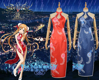 Sword Art Online Yuuki Asuna Red & Blue Cheongsam Dress Cosplay Costume F006