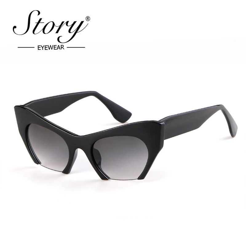 63d197c1f8 ... STORY New Fashion Semi Rimless Sunglasses Women Men 2018 Retro Half  Frame Cat Eye Sun Glasses ...