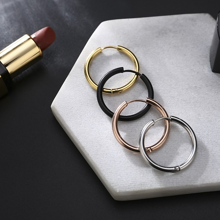 1Piece Stainless Steel Round Hoop Earrings Huggie Simple Style 2.5mm Circle Hoop Earring for Women Man Punk Piercing Jewelry