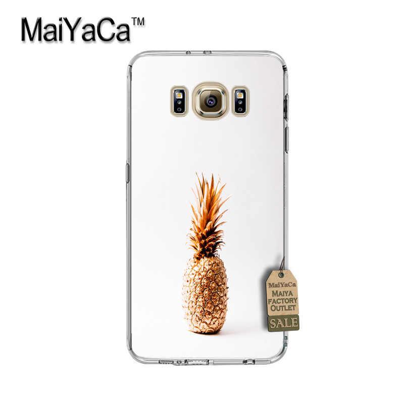 Maiyaca capa protetora transparente dourada, abacaxi tpu macio, para samsung galaxy s8 s7 edge s6 edge plus s5 capa s9