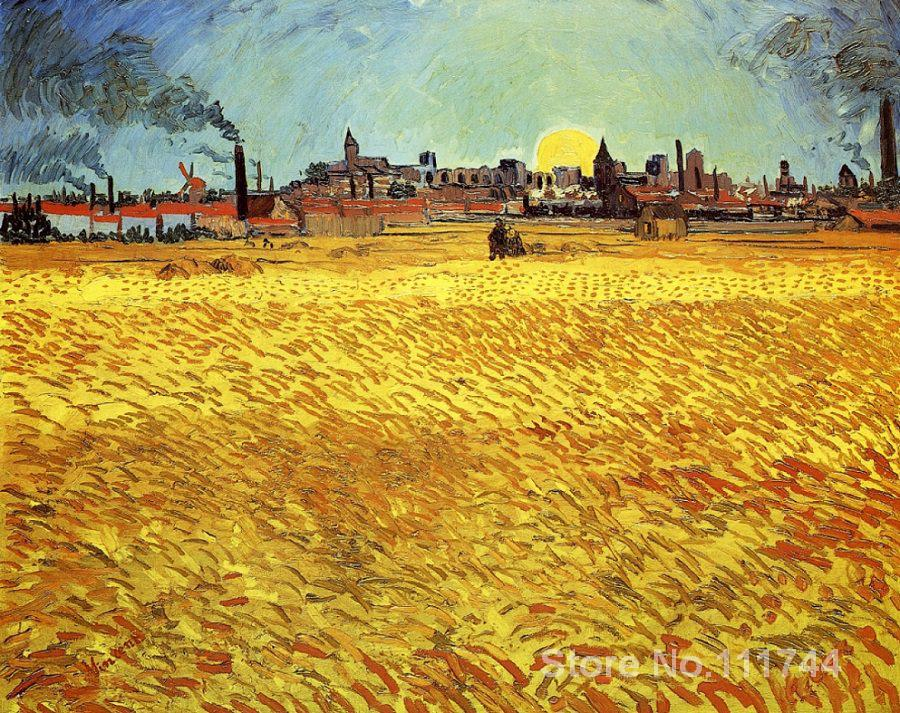 art Oil paintings Sunset at Wheat Field Vincent Van Gogh reproduction Handmade High qualityart Oil paintings Sunset at Wheat Field Vincent Van Gogh reproduction Handmade High quality