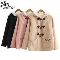 UHYTGF Winter Woman Coat lambswool Plus velvet Warm Woolen Coat Plus size Jacket Long sleeve Hooded Thicken Cotton Outerwear 685