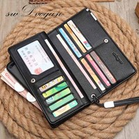 S W Dvogan Wallet Business Men S High Grade Zipper Handbag PU Leather Card Holder Men
