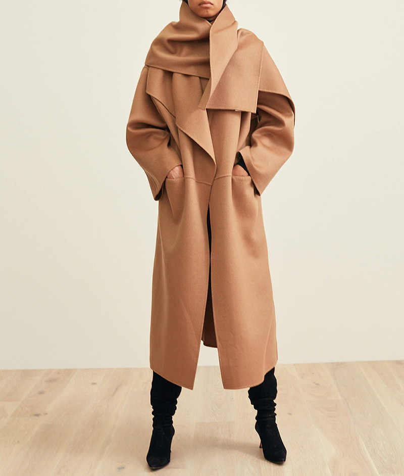 High-end 2018 Oversized Handmade Double-faced Wool Cashmere Simple Style Woolen Long Coat - Thicker Soft Warmer Minimalist Coat