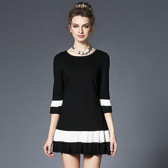 0a68eeb5cb Czarny Biały Kolor Bloku Sukienka Kobiety Plisowana Trzy Czwarte Rękaw Mini  Sukienki Plus