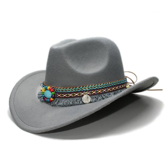 LUCKYLIANJI Kid Child Children s Retro Vintage Wool Felt Cowboy Wide Brim Bowler  Hat Tassel Turquoise Braid dc2c902b127