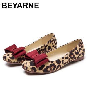 Image 1 - BEYARNELadies Leopard Printed Flats Square Toe Driving Shoes Grey Red Soft Slip ons For Pregnancy Women Breathable Plus SizeE709