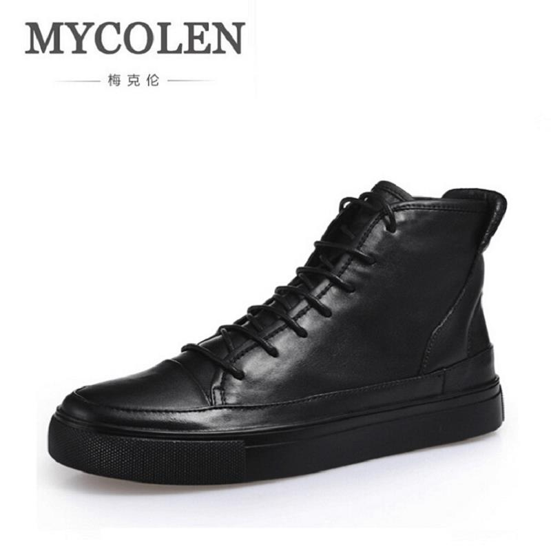 MYCOLEN Brand Quality Men Genuine Leather Shoes Casual Leather Shoes Luxury Brand Shoes Men Black Grey Flats Shoes zapatillas hot sale mens italian style flat shoes genuine leather handmade men casual flats top quality oxford shoes men leather shoes