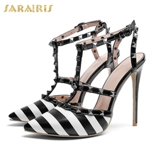 f5fe4591f52130 SARAIRIS 2018 Large Size 34-43 High Quality Rivet Roman Style Woman Sandals  Buckle Strap