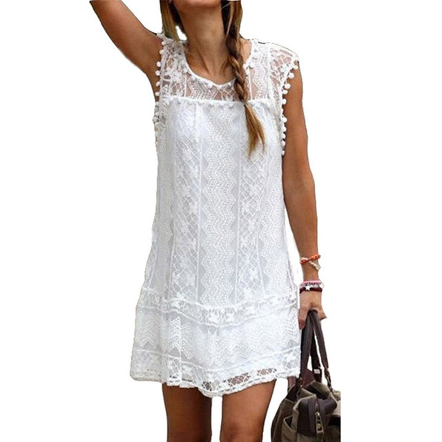 Lace Crochet Summer Sundress Plus Size Tassel Beach Dress Loose Sexy White  Mini Dress Casual Sleeveless d366980b6