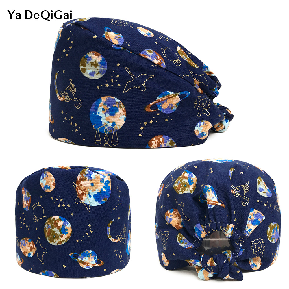 High Quality Hospital Medical Hats Cotton Scrub Caps Mask Women Print Tieback Adjustable Surgical Caps Unisex Wholesale 2019 New
