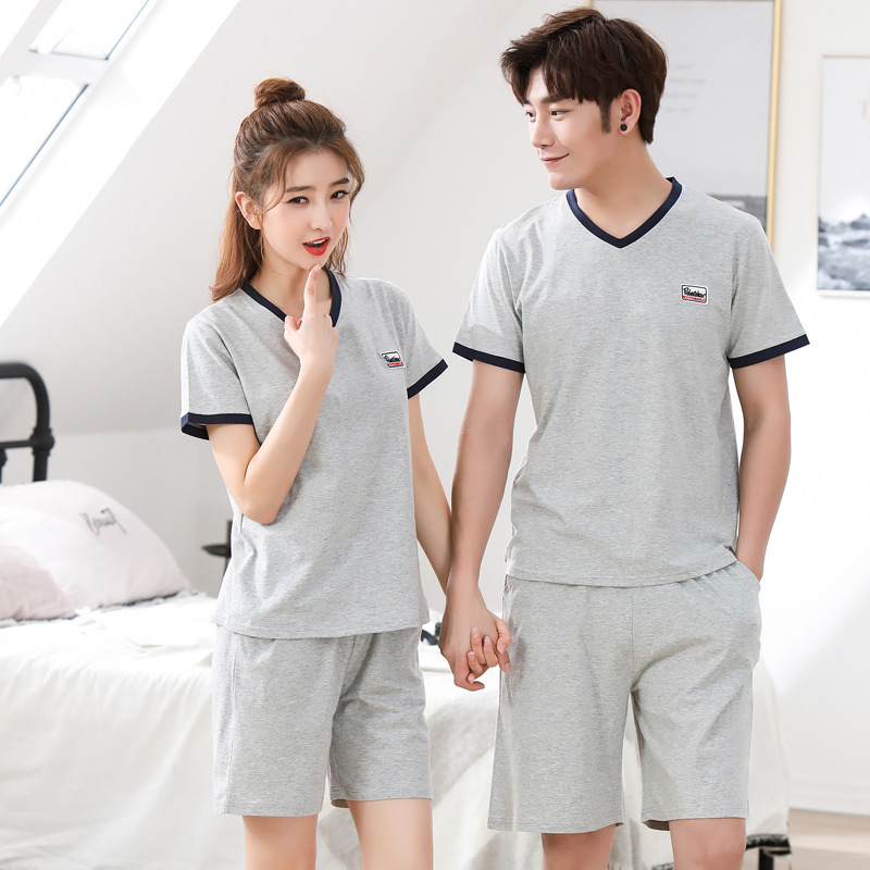 Sujisi Men Summer Short Pajamas Set Half Sleeves V-neck Casual Loose Pure Cotton Male Sleepwear Couple Letter Printing Pajamas